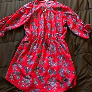 Dresses & Skirts - Cute red and floral long sleeve dress Never worn